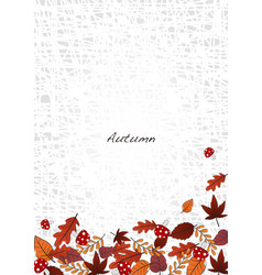 Flat autumn leaf and mushrooms on white background vector