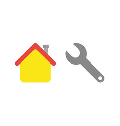 Flat design concept of repair house with spanner vector