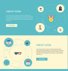 Flat icons holiday history spectacles and other vector