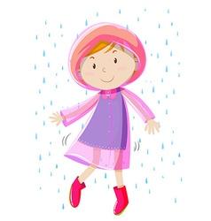 Girl in pink raincoat vector