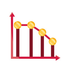 Graph down arrow money stock market crash isolated vector