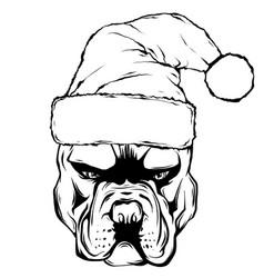 hand drawn dog american bulldog in a red santa vector image