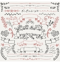 Hand Drawn Floral Design Elements Ribbons vector image