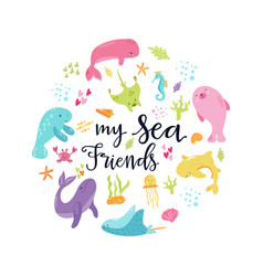 Handdrawn circle sea animals vector