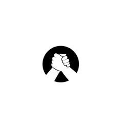Handshake or hands clenched logo design vector