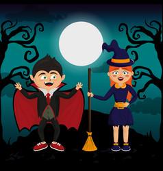 kids and halloween vector image