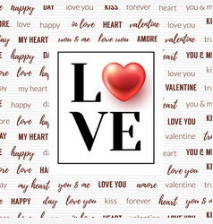Lettering love and glossy heart in frame vector