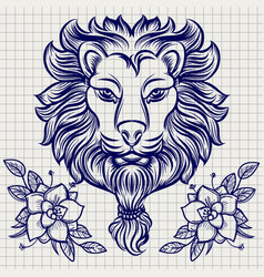 lion head sketch with flowers vector image