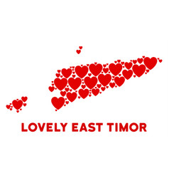 lovely east timor map composition of hearts vector image