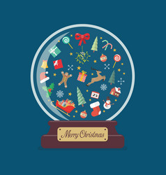 merry christmas glass ball with christmas vector image