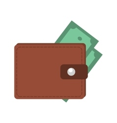 Money in wallet flat design for business and vector image