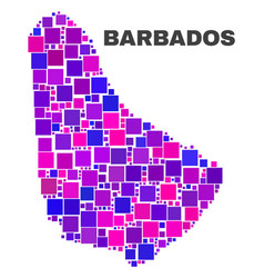 mosaic barbados map of square elements vector image