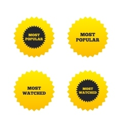 Most popular star icon Most watched symbol vector image vector image