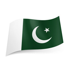 national flag of pakistan crescent moon and star vector image