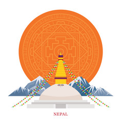 Nepal landmarks with decoration background vector