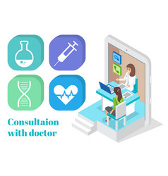 online consultation with doctor medical icons vector image