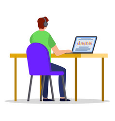 online education concept man learning at laptop vector image