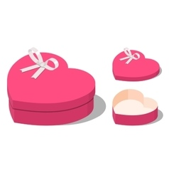 Opened and closed present heart shaped gift boxes vector image