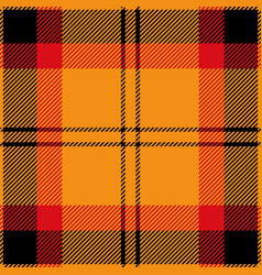 Orange red and black tartan plaid seamless pattern vector
