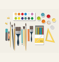 Paints brushes pencils back to school vector