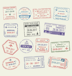Passport stamp of travel visa for tourism design vector