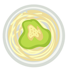 pesto with spaghetti or noodles with avocado sauce vector image