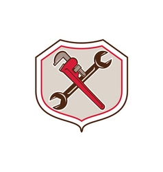 Pipe Wrench Spanner Crossed Shield Cartoon vector