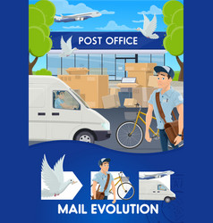 post mail delivery shipping logistics evolution vector image