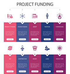 Project funding infographic 10 steps ui design vector