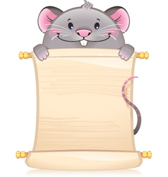 Rat with scroll - symbol of Chinese horoscope vector