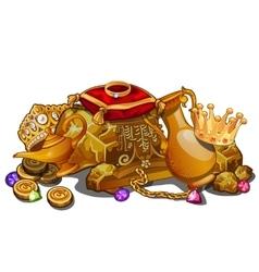 Royal gold treasure crown and precious relics vector image