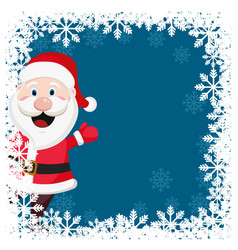 Santa claus waves his hand in a christmas frame of vector