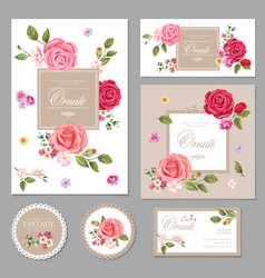 Set floral vintage cards vector