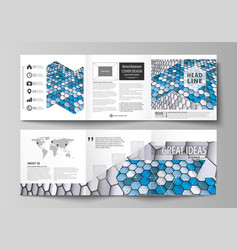 Set of business templates for tri fold square vector