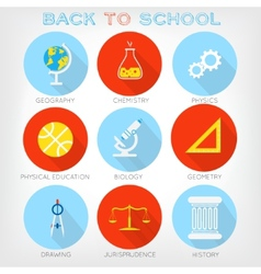 Set of flat-styled icons of school subjects vector image
