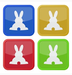 Set of four square icons with back easter bunny vector