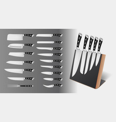 set professional knives on magnetic holder vector image
