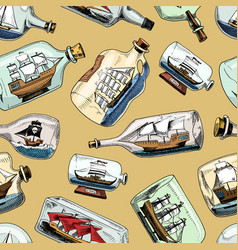Ship in bottle boat in miniature gifted vector
