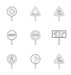 Sign on road icons set outline style vector