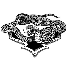 snake heraldic black and white vector image
