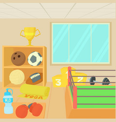 Sport gym equipment concept cartoon style vector
