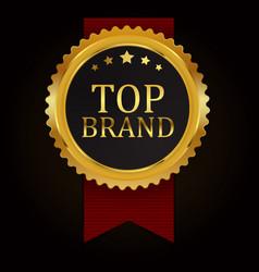 top brand golden label sign vector image