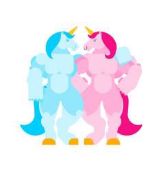 Two unicorns love lgbt symbol strong unicorn vector