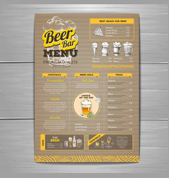 vintage beer menu design on cardboard background vector image