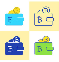 wallet with bitcoin icon set in flat and line vector image