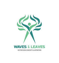 waves leaves - logo template human vector image