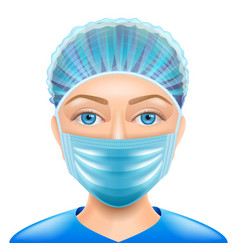 Woman doctor face mask isolated vector