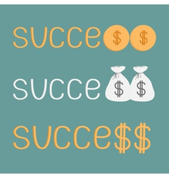 Word success and money bags coins and dollar sign vector