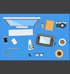 Workplace designer office equipment mobile vector