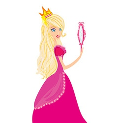 Young blond hair princess with mirror in her hands vector image